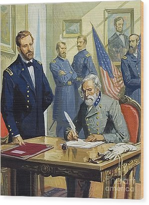 General Ulysses Grant Accepting The Surrender Of General Lee At Appomattox  Wood Print by Severino Baraldi