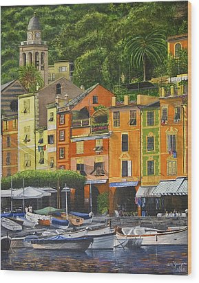 Wood Print featuring the painting Genoa Marina by Stuart B Yaeger