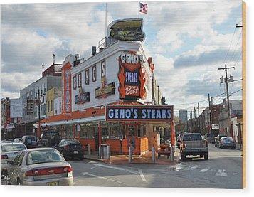 Geno's Steaks - South Philadelphia Wood Print by Bill Cannon