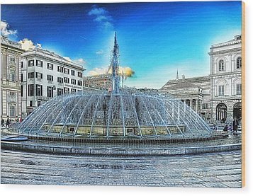 Genova De Ferrari Square Fountain And Buildings Wood Print by Enrico Pelos