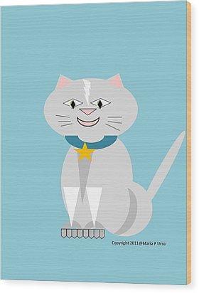 Geo Smiley Cat Wood Print by Maria Urso