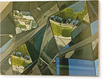 Geometric Reflections Wood Print by Michael Cinnamond