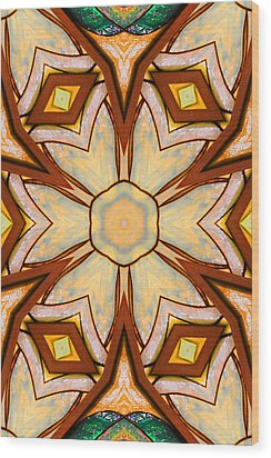 Geometric Stained Glass Abstract Wood Print by Linda Phelps