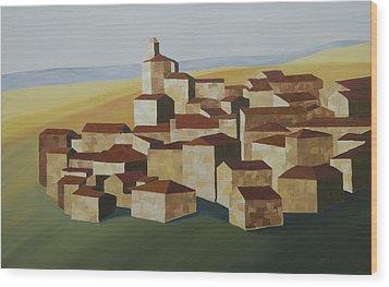 Geometric Village Spain Wood Print