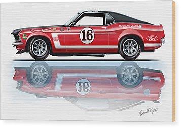 Geore Follmer Trans Am Mustang Wood Print by David Kyte