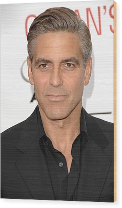 George Clooney At Arrivals For Oceans Wood Print by Everett