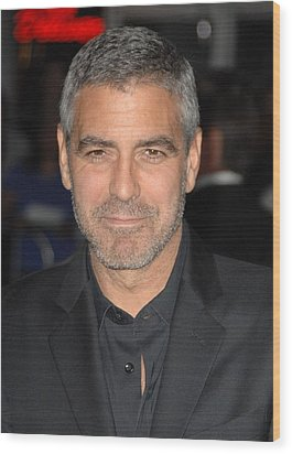 George Clooney At Arrivals For Up In Wood Print by Everett