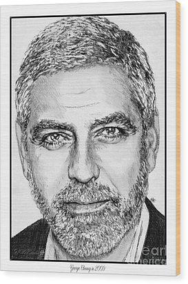 George Clooney In 2009 Wood Print by J McCombie