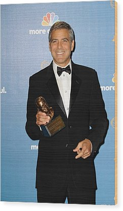 George Clooney Wearing Giorgio Armani Wood Print by Everett