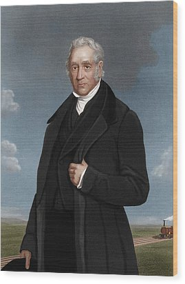 George Stephenson, British Engineer Wood Print by Maria Platt-evans