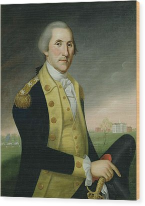 George Washington At Princeton Wood Print by Charles P Polk