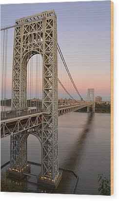George Washington Bridge At Sunset Wood Print by Zawhaus Photography