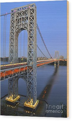 George Washington Bridge At Twilight Wood Print by Zawhaus Photography