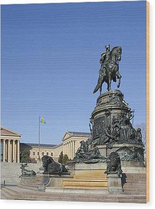 George Washington Statue At The Philadelphia Art Museum Wood Print by Brendan Reals