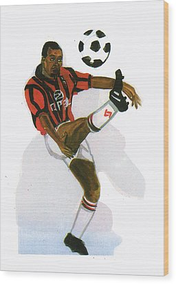 George Weah In Action Wood Print by Emmanuel Baliyanga