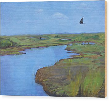 Wood Print featuring the painting Georgia Marsh by Rachel Hames