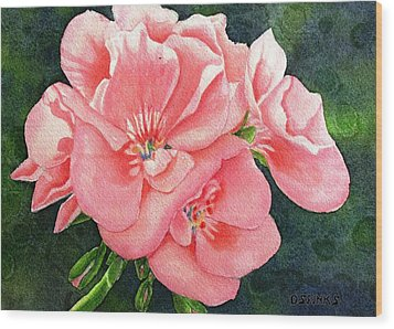 Geraniums Wood Print by Debra Spinks