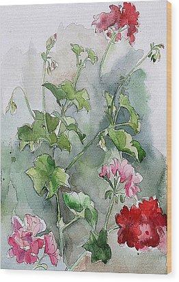 Geraniums Wood Print by Stephanie Aarons