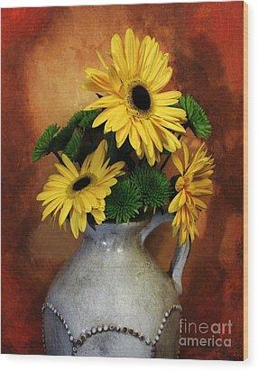 Gerber Yellow Daisies Wood Print by Marsha Heiken
