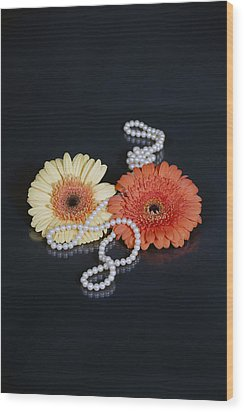 Gerberas With Pearls Wood Print by Joana Kruse
