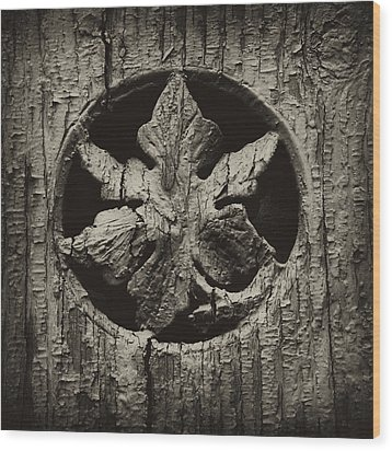Wood Print featuring the photograph German Leaf by Carrie Cranwill
