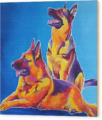 German Shepherd - Eiko And Erin Wood Print by Alicia VanNoy Call