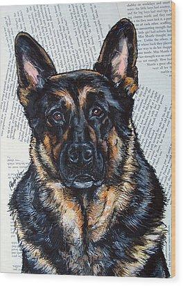German Shepherd Headshot Wood Print by Christas Designs