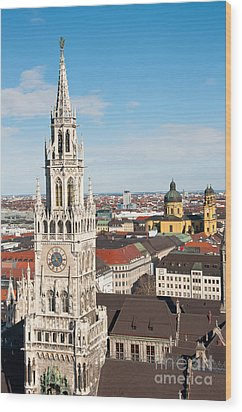 Wood Print featuring the photograph German Town Hall by Andrew  Michael