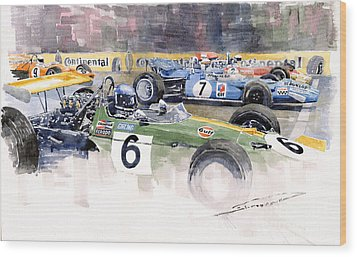 Germany Gp Nurburgring 1969 Wood Print by Yuriy  Shevchuk