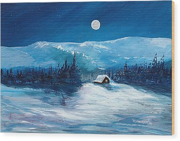 Wood Print featuring the painting Get Away Cabin by George Richardson