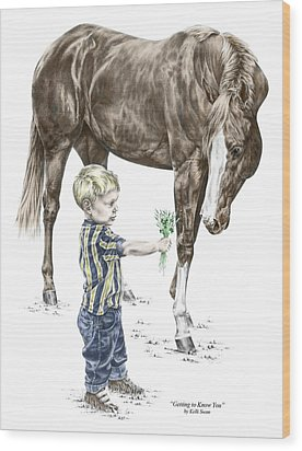 Getting To Know You - Boy And Horse Print Color Tinted Wood Print by Kelli Swan