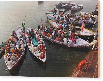 Ghats Of Varanasi, India Wood Print by Soumen Nath Photography