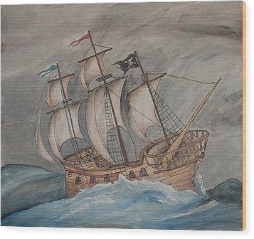 Ghost Pirate Ship Wood Print