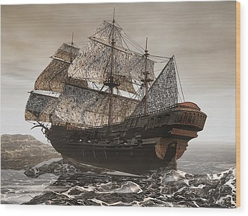 Ghost Ship Of The Cape Wood Print by Lourry Legarde