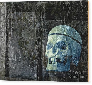 Ghost Skull Wood Print by Edward Fielding