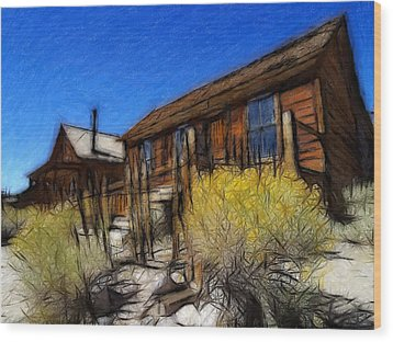 Ghost Town Bodie Pastel Wood Print by Steve K