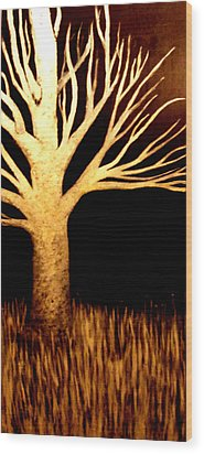 Wood Print featuring the painting Ghost Tree by Monica Furlow