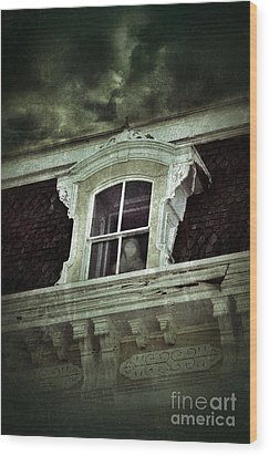 Ghostly Girl In Upstairs Window Wood Print by Jill Battaglia