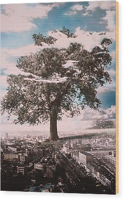 Giant Tree In City Wood Print by Hag