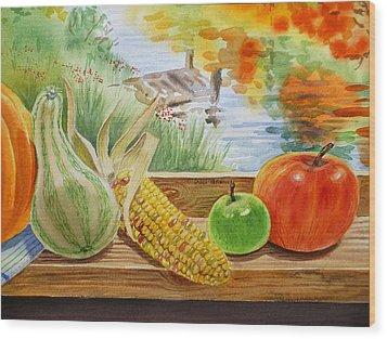 Gifts From Fall Wood Print by Irina Sztukowski