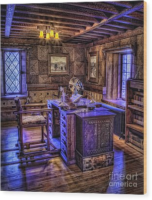 Gillette Castle Office Hdr Wood Print by Susan Candelario