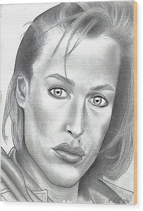 Gillian Anderson Wood Print by Rick Hill