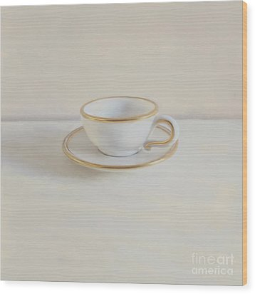 Gilt Cup On White Marble Wood Print by Paul Grand