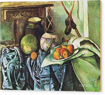 Ginger Jar And Eggplants Wood Print by Pg Reproductions