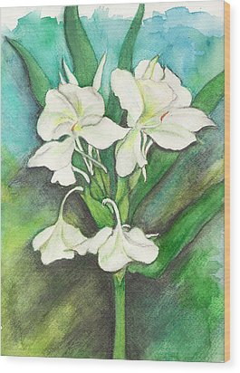 Wood Print featuring the painting Ginger Lilies by Carla Parris