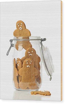 Gingerbread Men Escape Wood Print by Amanda Elwell