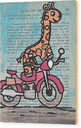Giraffe On A Motorcycle Wood Print by Jera Sky