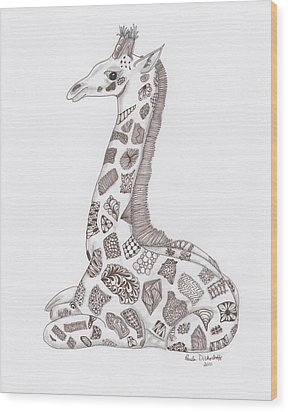 Giraffe Wood Print by Paula Dickerhoff