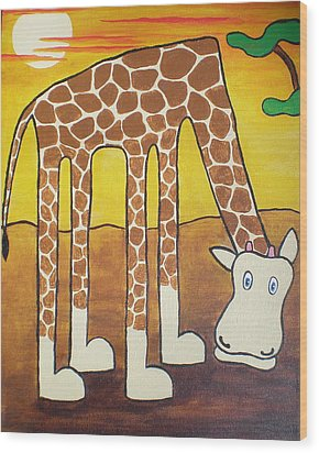 Wood Print featuring the painting Giraffe by Sheep McTavish