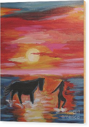 Girl And  Horse Wood Print by Diana Riukas